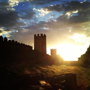 castle walls sunset
